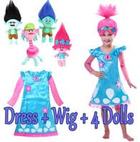 Wholesale Spandex Lycra Stockings - 2017 Hot Sale Trolls Dress Cosplay Wigs Trolls Girls Party Cosplay Dress Kids Party Cosplay Wig Size 110-150 In Stock