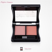 Al por mayor-Perfect Summer Make Up Blush Palette Colores dobles Brand Cheek Blusher Powder Nuevo Contorno de maquillaje Set Blush Christmas Gifts