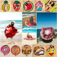 Wholesale Cute Beach Towels Wholesale - 150CM Round 3D Cute Food Pattern Printed Summer Beach Towel Mat Toalla de playa redonda Pool Shower Blanket Sunscreen Shawl Scarf