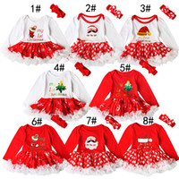 Wholesale Zebra Crochet - Hot Baby girls Christmas printing Red dress 2ps sets crocheted bow headband+Xmas pattern romper Infants first christmas gifts cute outfits