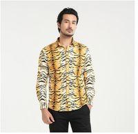 Wholesale Tiger Print Long Shirts Design - new 3d tiger print shirt oem design fashion mens best choice oversize 5xl long sleeve cotton tops shirts for sale