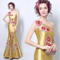 Wholesale One Shoulder Fishtail Wedding Dress - New Arrival Hot Sale Fashion Elegant Luxury Princess Cheongsam Embroidered Angel One Shoulder Toast Fishtail Dinner Bridal Wedding Dress