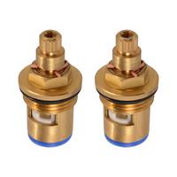 Wholesale brass discs - 2x Replacement Brass 1 4 Turn Ceramic Disc Cartridge Hot Cold Tap Valve HS919-SZ+-