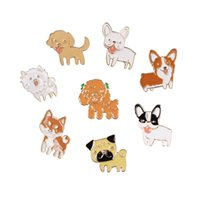 Wholesale Dog Jeans Clothing - Wholesale- Fashion Cartoon Cute Dog Teddy Bulldog Brooch Pins Badge Pin Jeans Bag Clothes Decoration For Women Gift Jewelry Wholesale