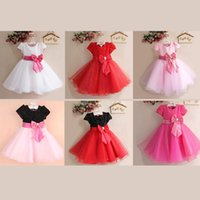 Wholesale Bow Tie Chiffon Dress - girls lace bow tie dress solid color puffy dress exquisite sequined princess dresses for flower girl exquisite ball gown wedding wear retail