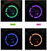 tapas de válvulas luces led al por mayor-El casquillo de válvula del neumático del flash LED de la rueda de la bici de la luz del coche de la bicicleta Motorbicycle neumático de la rueda del coche de luz LED de luz verde amarillo rojo luces de colores