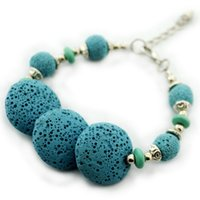 Wholesale Dyed Turquoise Beads - B346 18CM Blue Dyed Lava Stone Volcano Beads Lava Rock Bracelet 1PC Vintage Look Antique Silver Plated Old Looking