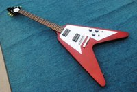 Wholesale Pickguard Gold - Flying V Electric Guitar with Claret-red Body and Gold Hardware,Black Pickguard and Can be Changed