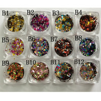 Wholesale Round Shape Nail Tips - Wholesale- 12 Nail Art Glitter ROUND Shapes Confetti Sequins Acrylic Tips UV Gel B Style Sale By 12jar set
