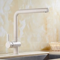 Wholesale 2017 Hot Selling Quartz Stone single Round kitchen faucet With Oatmeal color Rotatable Faucets Showers Accs HS303
