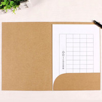 Wholesale A4 Paper Storage - A4 Paper File Folder With Pocket White Kraft And Black Colors Paper Document Filing Bag Office Storage 22*31cm ZA5068