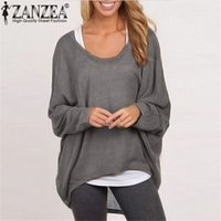 Wholesale Spring Women Sweater Plus Size - Wholesale-9 Colors ZANZEA Top Blusas Spring Autumn Women Blouse Casual Loose Batwing Long Sleeve Shirt Sweater Jumper Pullovers Plus Size