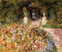 Wholesale Famous Paintings Renoir - Famous artist oil painting hand painted The Garden scenery oil painting by Pierre-Auguste Renoir wall pictures No Frame