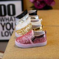 ingrosso ragazzi scarpe dita dei piedi-Nuovi bambini scivoli scarpe paillettes coreani LED Sneakers per bambini scarpe per bambini per bambine scarpe casual per bambini Moda calzature A603