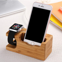 Wholesale Iphone 4s Charging Stand - Wooden Charging Dock Desktop Bracket Cradle For iPhone 7 Plus 6 6s Plus 5 5s SE 4s Phone Holder Stand For Apple iwatch