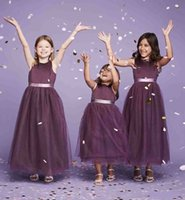 Wholesale Green Litter - litter misses dresses 2018 flower girls dresses kids formal wear purple tulle skirts formal dresses for wedding