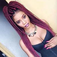 ingrosso trecce di capelli africani neri-Moda parrucche sintetiche africane intrecciate parrucche Borgogna intrecciate parrucche con capelli Bbay parrucche sintetiche resistenti al calore parrucche nere per le donne nere