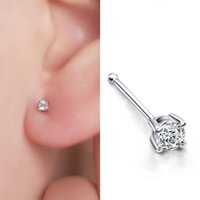 Wholesale Ear Piercing Studs Steel - 10 Pairs Indian Style Crystal Rhinestone Bone Fake Nose Studs 20G Stainless Steel Ear Piercing Body Jewelry For Women