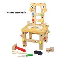 Wholesale Disassembly Educational Toy - Fashion wooden toy Colorful Kid pretend play workbench tool box carpenter play educational DIY Assembling toys Disassembly emulational chair