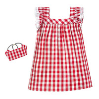 Wholesale Baby Girl Dress Check - Square Check Printed Baby Girls Clothes Ruffle Sleeve Lace Trim Girls Dress Clothing Set Hot Sales Children Clothing