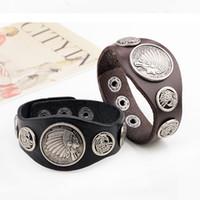 Wholesale Dragon Ring Bracelet Set - Punk Rock Indian chiefs Vintage leather rivets men bracelet bangles men's jewelry totem dragon bracelets for Cowboy Rider Motorcycle
