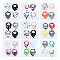 Wholesale Infant Cute Bibs - Multicolor baby fleece triangle towel cute patterns infants triangular bibs arrows dots letters feather geometric graphics