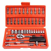 trousse à outils voitures achat en gros de-Outil de réparation de voiture 46pcs 1/4-inch Socket Set Outil de réparation de voiture clé dynamométrique à cliquet Combo outils Kit Auto Repairing Tool Set