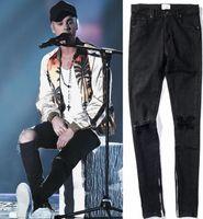 siyah denim sıkıntılı kot toptan satış-Yeni Sıcak Moda 2018 Tanrı FOG Fermuar fermuarlar sıska slim fit erkek Sıkıntılı justin bieber siyah pamuk Denim kot erkekler jean
