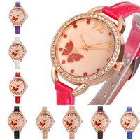 Wholesale Handmade Clay Watches - Cartoon Watches Handmade Clay Leather Quartz Watch Women Girl Diamond Butterfly Flower Dress Wristwatch
