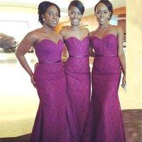 Wholesale Long Chiffon Peplum Design - Nigerian Purple Sweetheart Mermaid Bridesmaid Dresses Ruched Saudi Arabic Lace Wedding Party Dresses New Design Custom Made Formal Gowns