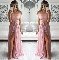 Wholesale Two Sided Belt - Blush Two Pieces Prom Dresses 2017 Off the Shoulder A Line High Split Side with Belt Formal Evening Gowns Vintage Lace Formal Dresses