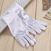 Wholesale Wholesale White Short Satin Gloves - 2017 New White Short Gloves With Finger Bridal Gloves Accessories Wedding Gloves black ivory red