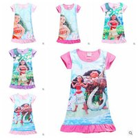 Wholesale Cartoon Beach Shorts - 6 Designs Moana Girls Cartoon Dresses Summer Kids Beach Dress Short Sleeve MOAMA Polyester Nightdress Kids Summer Clothing CCA5478 50pcs