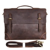 Mens Crazy Horse Leather Messenger Bag Mala de viagem Single Shoulder Bag 14