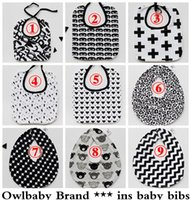 Acheter Feeding bottle-Owbaby INS Girls Baby Boys Boys Bibs Waterproof Cartoon pour enfants Batman Zigzag Cross Bouteille de lait Pattern Babillards pour serviettes pour tout-petits Burp Cloths Feeding