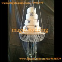 Wholesale Chinese Swing - Glass Crystal Chandelier style drape suspended Swing cake stand round 24""