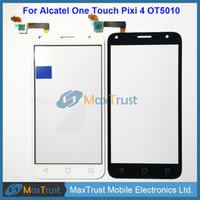 "Wholesale Alcatel Digitizer - Top Quality 5.0"" For Alcatel One Touch Pixi 4 OT5010 5010D 5010E 5010G Touch Screen Digitizer Front Panel Sensor Black White Color"