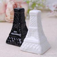 einzigartige gläser großhandel-Gewürzflasche Eiffelturm Form Keramikglas Hochzeit Werbegeschenke Einzigartiges Design Salz Und Pfeffer Gewürze Topf 5yk C