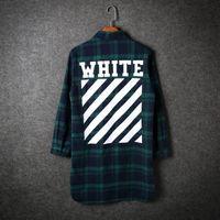 Wholesale Green Stripe Long Sleeve Shirt - Off-White Checked Shirt Men Women Diagonal Stripes Print Casual Long Shirts Spring Autumn Flannel Plaid Shirt Cardigan Outwear CRG0323