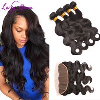 Wholesale Grace Wholesale - Grace 8A Hair Products With Closure Pre Plucked Lace Frontal Closure With Bundles Ear To Ear Brazilian Body Wave With Frontal