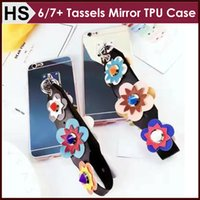 Wholesale Korean Iphone Case Wholesale - Tassels Mirror TPU CASE For iPhone 6 6S 7 Plus Stuffed Loving Heart Korean Sunflower Fashion Soft Back Cover Fashion Newest Free Shipping