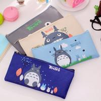 Wholesale Cute Cartoon Panda Pencil Case - Totoro Pencil Case Panda School Boys Kawaii Pen Box Bag Pouch Canvas Cartoon Cute Cases Bags Leather or Pens Stationery Kawaii