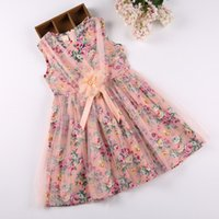 Wholesale chinese kid fashion clothes online - Girls Dresses Pink Flower Summer Kids Fashion Girls Clothes Grenadine Sleeveless Vest Skirt One piece Dresses LG