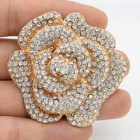 broche de ouro bling venda por atacado-Bling bling alta qualidade checa cristais big rose broche de luxo elegante bridal bouquet enorme broche para o casamento de prata rosa e rosa de ouro