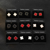 Wholesale Cheap Real Jewelry For Women - Fashion Clover Leaf Stud Earrings Real Gold Plating Earrings Jewelry for Women Wedding Party Cheap Wholesale Small Gift