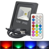 Wholesale Outdoor Plug Flood Light - RGBW LED Floodlights Strobe Stage lights Waterproof 10W Led Flood Lights Outdoor Lighting + Remote Control + US UK AU EU Plug