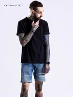 Wholesale Plain Men S T Shirt - Cool Men Black Cotton T Shirt OVERSIZE Hip Hop T-shirts Plain Top Shirts size S-XXL