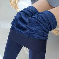 Wholesale Thick Blue Pink Leggings - 8 Colors High Elastic Waist Winter Plus Velvet Thicken Women's Leggings Warm Pants Good Quality Cashmere Thick Trousers Female