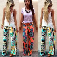 Wholesale Leg Loose Pants Long Trousers - Summer Women Pants Wide Leg Long Bohemian Leggings Palazzo Trousers Beach Pants