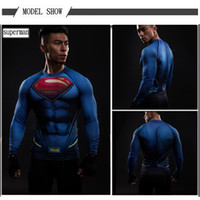 Wholesale Superman Shirt Men - The most popular Compression Shirt 3D Printed T-shirts Men Raglan Long Sleeve Cosplay Costume Clothes Male Tops Superman costume 2017 Spring
